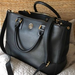 TORY BURCH - Saffiano Leather Black Tote